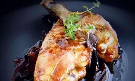 Cuisses de poulet, sirop d'érable-gingembre