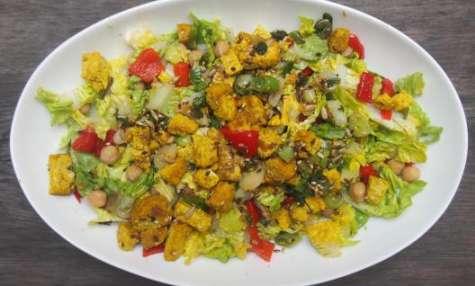 Salade au tofu curry-mangue