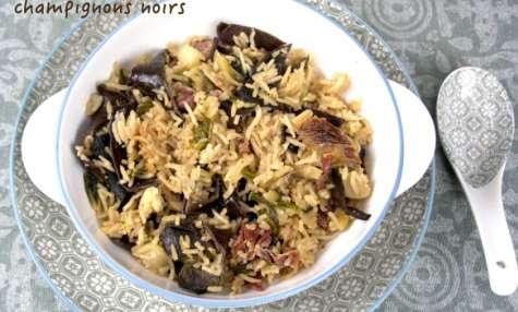 Poêlée de riz au pak choi et champignons noirs