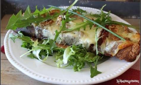 Tartines à la mozzarella et aux tomates séchées , salade de pissenlit