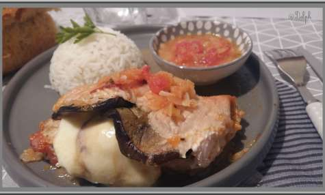 Roulé de poulet à l'aubergine.