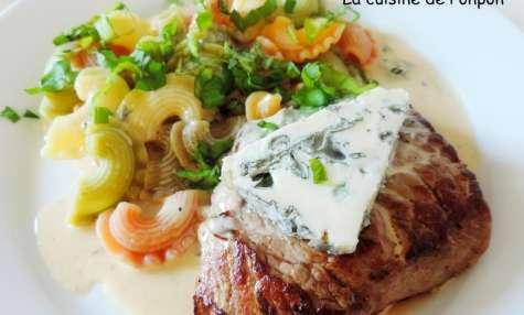 Steak parfumé au bleu de chèvre et cuit à basse température