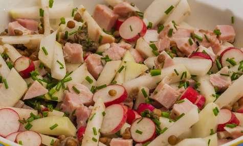 Salade de lentilles au chou rave, jambon et radis