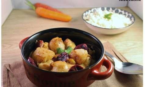 Cassolette de la mer, St Jacques, saumon, cabillaud, carottes violettes et safran