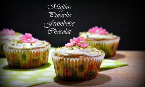 Muffins pistache framboise chocolat
