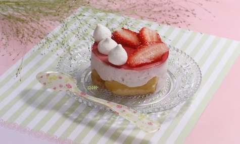 Entremets au yaourt et aux fraises