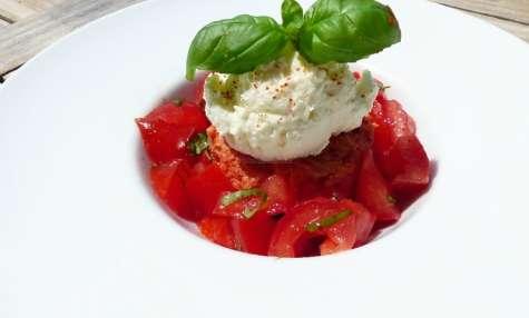 Flan à la tomate et son sorbet au chèvre sans sorbetière
