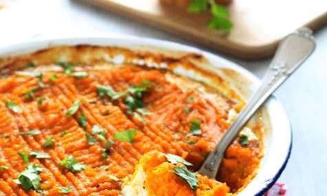 Parmentier de cabillaud & patates douces au curry-cumin