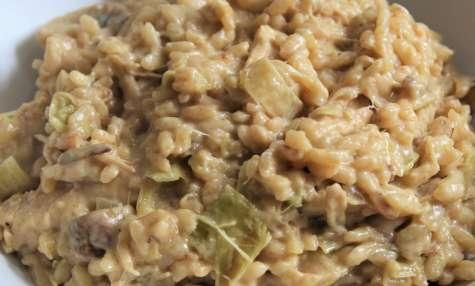 Risotto crémeux au poulet, champignons et poireaux