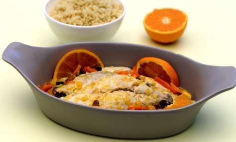 Poisson à l'orange, carotte et raisins secs