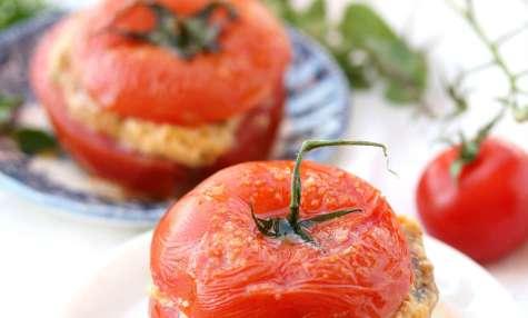 Tomates farcis persillade, mozzarelle et jambon blanc