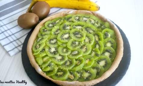 Tarte sablée sans beurre au kiwi de saison