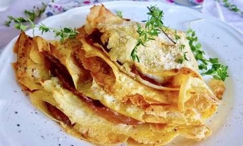 Crêpes au rabiola, thym-citron et jambon de Parme