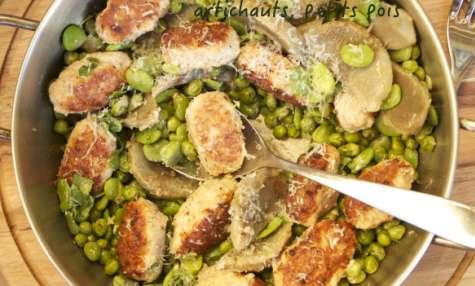 Boulettes de veau aux fèves, artichauts et petits pois