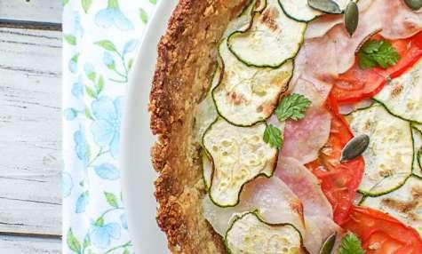 Tarte courgette, tomates et pommes de terre vegan