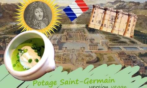 Potage Saint-Germain, petits pois, légumes, fines herbes sans gluten