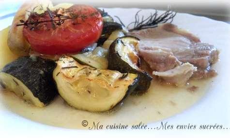 Rôti de porc et ses courgettes - pommes de terre - tomates
