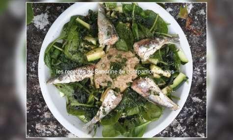 Salade de courgettes épinards sardines et son caviar d'aubergine