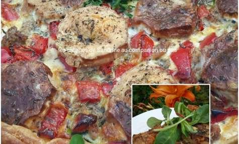 Tarte salée ou quiche courgette poivron thon herbes de Provence et bûche de chèvre