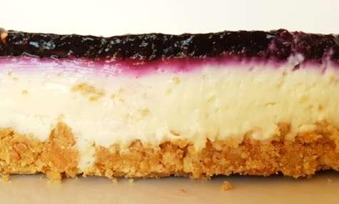 Cheesecake chocolat blanc et myrtilles