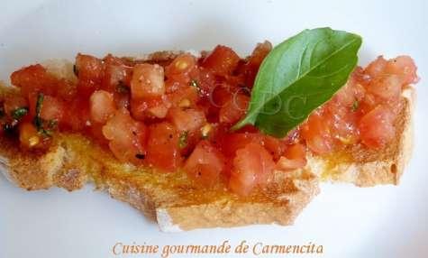 Bruschetta tomate huile d'olive
