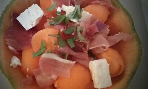 Melon à la feta et au jambon de Parme