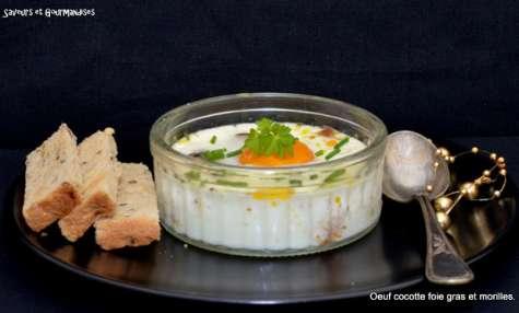 Œufs cocotte au foie gras et aux morilles