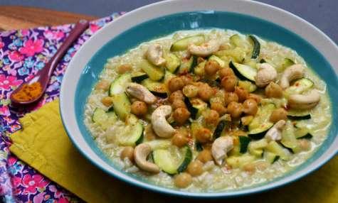 Curry de pois chiche au lait de coco et courgette