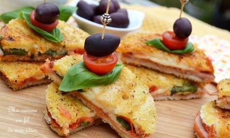 Croques apéritifs au jambon, mozzarella, tomates cerise, basilic et origan