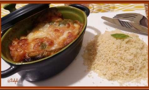 Cassolettes d'aubergine et compotée de tomates à la Mozzarella