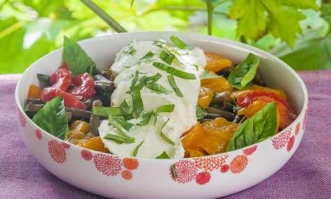 Salade de tomates, haricots verts et mozzarella