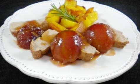 Filet mignon aux prunes, miel et romarin