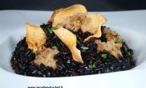 Riz noir boudin blanc aux pommes séchées