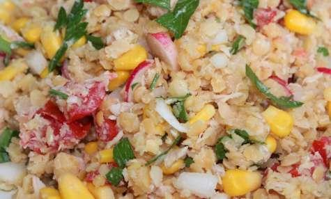 Salade composée de lentilles corail