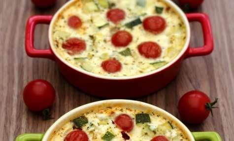 Clafoutis aux tomates cerises, courgette et chèvre