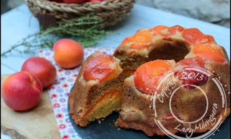 Gâteau à l'abricot, miel et polenta