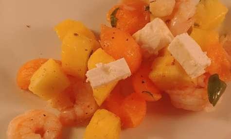 Salade de crevettes, au melon et à l'ananas