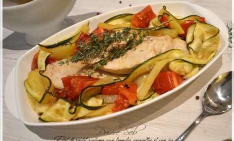 Filet de poulet parfumé aux tomates, courgettes et son jus épicé