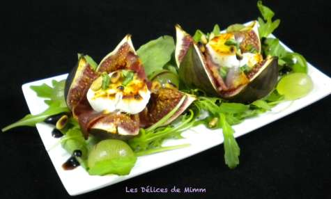 Figues fraîches farcies au chèvre et au jambon cru
