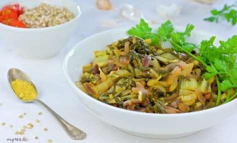 Des feuilles de blettes au curry (vegan)