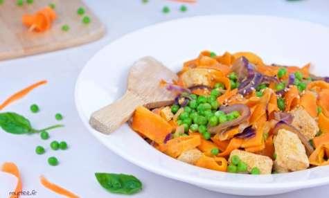 Tagliatelles de carottes à la cacahouète