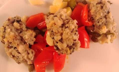 Gnocchettis d'olives, aux poivrons, câpres et parmesan