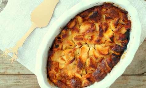 Pudding de croissants aux pommes et sirop d'érable