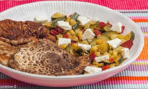 Coulemelles poêlées aux courgettes, chorizo et fêta