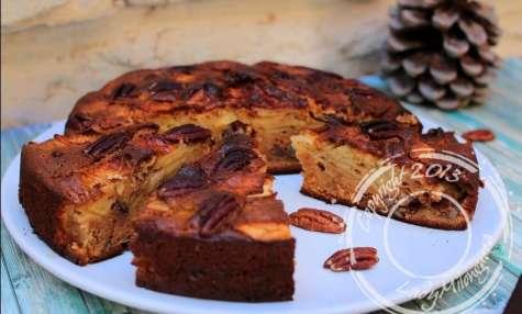 Gâteau aux pommes, miel et noix de pécan