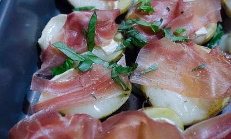 Pommes de terre farcies au chèvre et au jambon Serrano