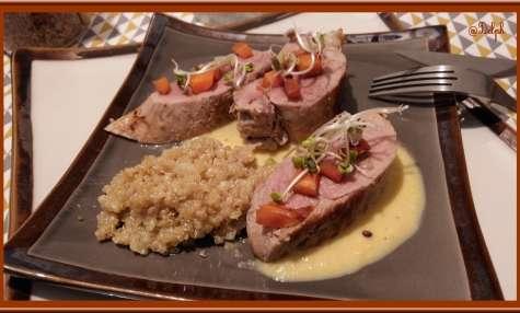 Filet mignon poêlé, risotto de quinoa au vin blanc
