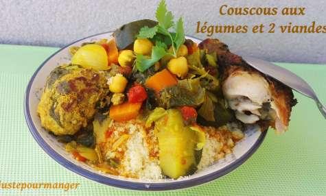 Couscous aux légumes et viande de poulet et kefta