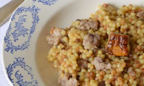 Fregola funghi e salsiccia