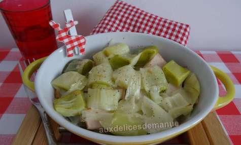 Cassolette de poireaux et poulet à la cancoillotte
